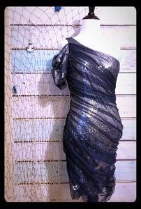 B Darlin One Shoulder Sequin Taffeta Dress Sz 11